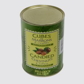 Candied Chestnut Cubes in a Strainer – Total net weight: 1.3 kg – Net weight per unit: 0.6 kg – Pack of 6 tins – Shelf life: 36 months – Ref.: 64