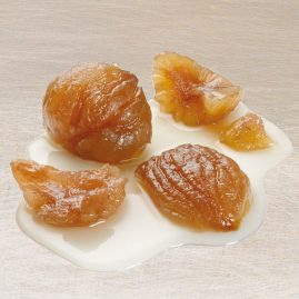 Broken Marrons Glacés or Broken Chestnuts in Syrup – Packed in 5 kg boxes or 600 g and 2.3 kg metal tins