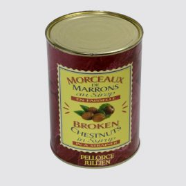 Broken Chestnuts in Syrup in a Strainer – Total net weight: 1.3 kg – Net weight per unit: 0.6 kg – Pack of 6 tins – Shelf life: 36 months – Ref.: 63