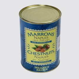 Naples Chestnuts in Syrup in a Strainer – Total net weight: 1.3 kg – Net weight per unit: 0.6 kg – Pack of 6 tins – Shelf life: 36 months – Ref.: 109